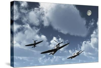 A Formation of Royal Air Force Supermarine Spitfires-Stocktrek Images-Stretched Canvas Print