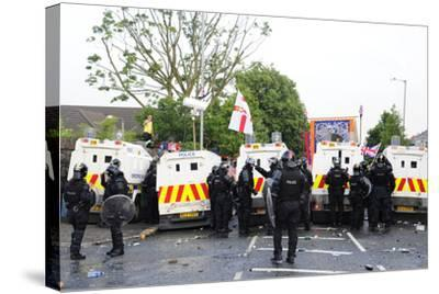 Loyalist Protesters Attack Police Lines at the Albertbridge Road in Belfast, Northern Ireland-Stocktrek Images-Stretched Canvas Print