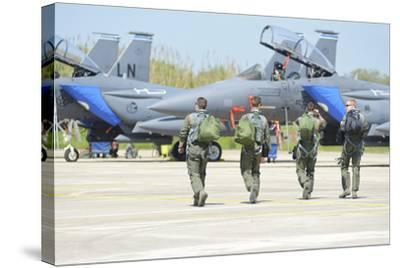 U.S. Air Force F-15E Strike Eagle Pilots Walking to their Jets-Stocktrek Images-Stretched Canvas Print