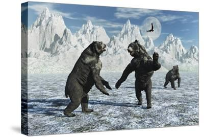A Pair of Arctodus Bears in a Territorial Dispute-Stocktrek Images-Stretched Canvas Print