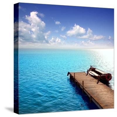 Albufera Blue Boats Lake in El Saler Valencia Spain- Miscellaneoustock-Stretched Canvas Print