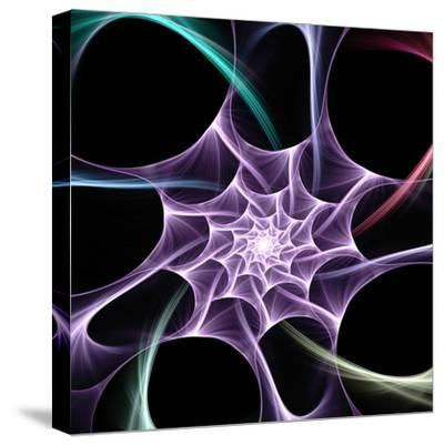 Computer Generated Flame Based Fractal on Form Odf a Spider Web - Useful Creative Design Element- Gala98-Stretched Canvas Print