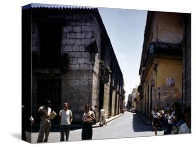 School Children and Passersby on St Ignaco Street in Havana, Cuba-Eliot Elisofon-Stretched Canvas Print