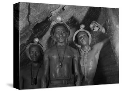 Gold Miners in Robinson Deep Diamond Mine Tunnel, Johannesburg, South Africa, 1950-Margaret Bourke-White-Stretched Canvas Print