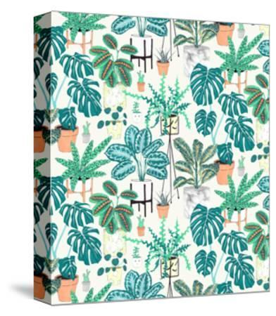House Plants Teal-Jacqueline Colley-Stretched Canvas Print