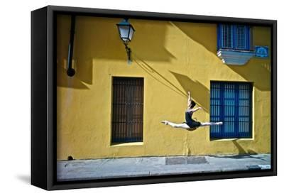 Ballet in the Colonial Streets of Old Havana-Kike Calvo-Framed Stretched Canvas Print