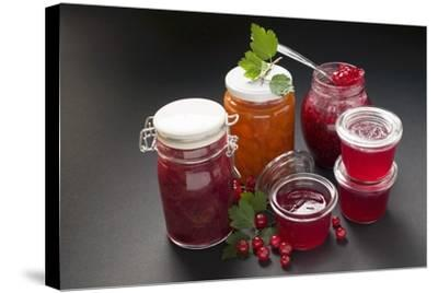 A Selection of Jams and Jelly in Jars, Redcurrants and Leaves-Foodcollection-Stretched Canvas Print