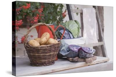 Rustic Still Life with Potatoes and Cabbage in Front of Farmhouse-Eising Studio - Food Photo and Video-Stretched Canvas Print