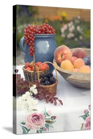Summer Fruit Still Life on Table in Garden-Foodcollection-Stretched Canvas Print
