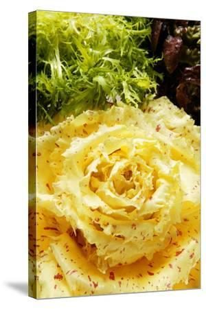 Assorted Salad Leaves with Yellow Radicchio-Foodcollection-Stretched Canvas Print
