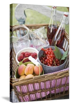 Berries, Apricots, Bottles of Juice and Jars in Basket-Eising Studio - Food Photo and Video-Stretched Canvas Print