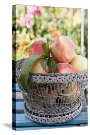 Basket of Fresh Peaches on a Garden Table-Eising Studio - Food Photo and Video-Stretched Canvas Print