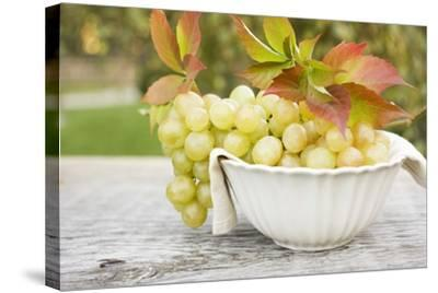 Green Grapes and Autumn Leaves in White Bowl-Foodcollection-Stretched Canvas Print
