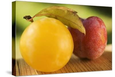 Yellow Plum with Leaves and Red Plum-Foodcollection-Stretched Canvas Print
