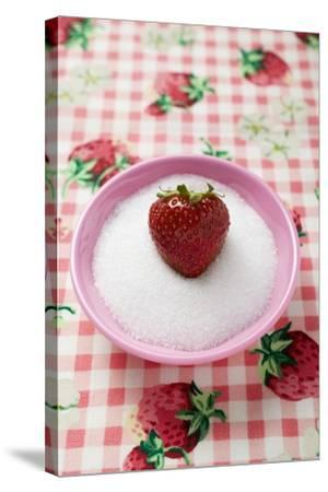Strawberry in a Small Dish of Sugar-Foodcollection-Stretched Canvas Print