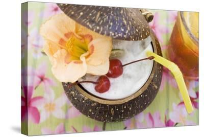 Pina Colada with Flower and Cherries-Foodcollection-Stretched Canvas Print
