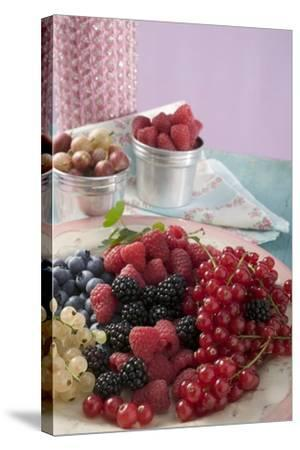 Mixed Berries on a Plate-Foodcollection-Stretched Canvas Print
