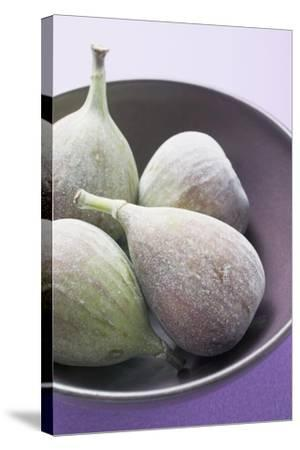 Four Fresh Figs in Bowl (Detail)-Foodcollection-Stretched Canvas Print