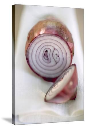 Red Onion, Cut into Two Pieces-Foodcollection-Stretched Canvas Print