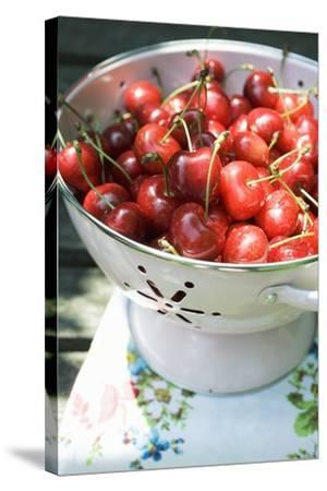 Cherries in Colander-Foodcollection-Stretched Canvas Print