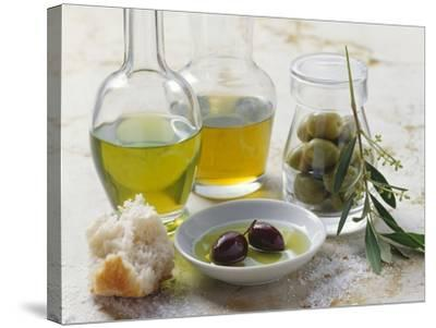 Still Life with Olives and Different Types of Olive Oil-Eising Studio - Food Photo and Video-Stretched Canvas Print