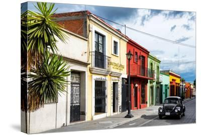 ¡Viva Mexico! Collection - Colorful Facades and Black VW Beetle Car-Philippe Hugonnard-Stretched Canvas Print