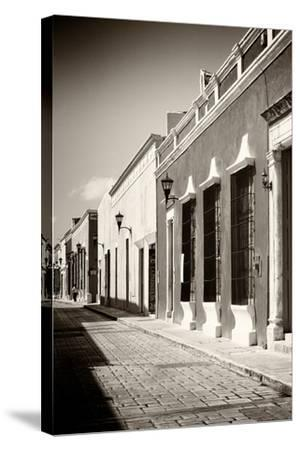 ¡Viva Mexico! B&W Collection - Campeche Street Scene IV-Philippe Hugonnard-Stretched Canvas Print