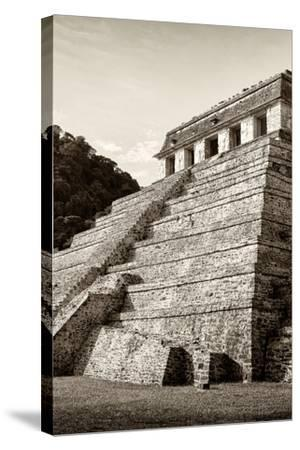 ¡Viva Mexico! B&W Collection - Mayan Temple of Inscriptions II - Palenque-Philippe Hugonnard-Stretched Canvas Print