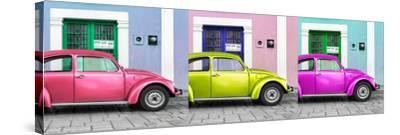 ¡Viva Mexico! Panoramic Collection - Three VW Beetle Cars with Colors Street Wall XII-Philippe Hugonnard-Stretched Canvas Print