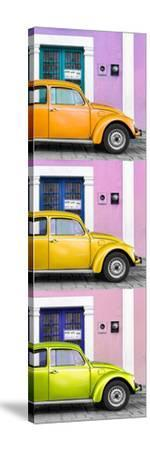 ¡Viva Mexico! Panoramic Collection - Three VW Beetle Cars with Colors Street Wall XXXIII-Philippe Hugonnard-Stretched Canvas Print