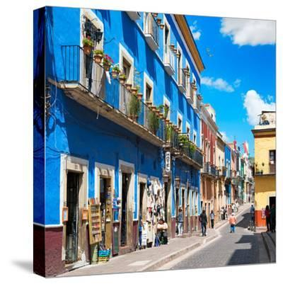 ¡Viva Mexico! Square Collection - Blue Street in Guanajuato-Philippe Hugonnard-Stretched Canvas Print