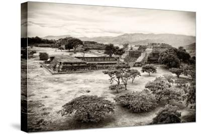 ¡Viva Mexico! B&W Collection - Monte Alban Pyramids VII-Philippe Hugonnard-Stretched Canvas Print