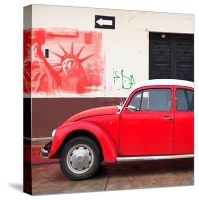 ¡Viva Mexico! Square Collection - Red VW Beetle Car and American Graffiti-Philippe Hugonnard-Stretched Canvas Print