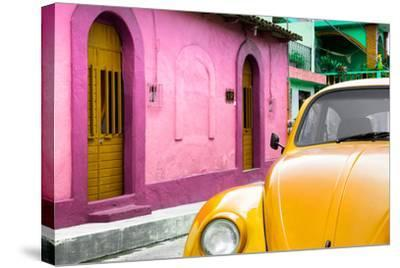 ¡Viva Mexico! Collection - Yellow VW Beetle Car and Colorful House-Philippe Hugonnard-Stretched Canvas Print