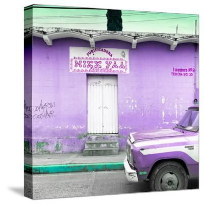 "¡Viva Mexico! Square Collection - ""5 de febrero"" Purple Wall-Philippe Hugonnard-Stretched Canvas Print"