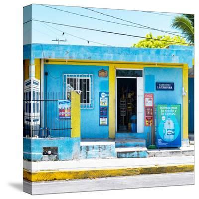 "¡Viva Mexico! Square Collection - ""La Esquina"" Blue Supermarket - Cancun-Philippe Hugonnard-Stretched Canvas Print"