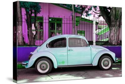 "¡Viva Mexico! Collection - ""Summer Blue Car"" VW Beetle-Philippe Hugonnard-Stretched Canvas Print"