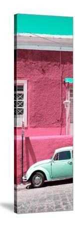 ¡Viva Mexico! Panoramic Collection - VW Beetle Car and Pink Wall-Philippe Hugonnard-Stretched Canvas Print