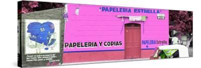 ¡Viva Mexico! Panoramic Collection - Pink Papeleria Estrella-Philippe Hugonnard-Stretched Canvas Print