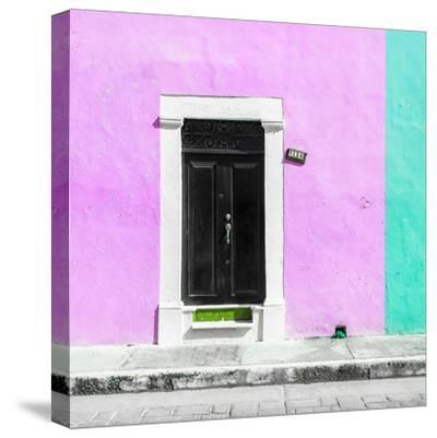 ¡Viva Mexico! Square Collection - Pink and Coral Green Facade - Campeche-Philippe Hugonnard-Stretched Canvas Print