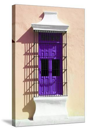 ¡Viva Mexico! Collection - Purple Window and Apricot Wall in Campeche-Philippe Hugonnard-Stretched Canvas Print