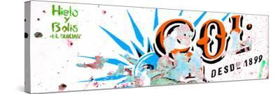 ¡Viva Mexico! Panoramic Collection - Orange SOL Sign Street Wall-Philippe Hugonnard-Stretched Canvas Print