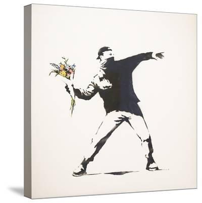 Love Is in the Air-Banksy-Stretched Canvas Print