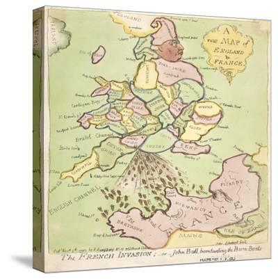 New Map of England and France, the French Invasion, 1793-James Gillray-Stretched Canvas Print