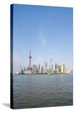 Pearl Tower over Pudong District Skyline and Huangpu River, Shanghai, China-Michael DeFreitas-Stretched Canvas Print