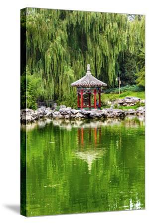 Red Pavilion Lotus Pads Garden Temple of Sun City Park, Beijing, China Willow Green Trees-William Perry-Stretched Canvas Print