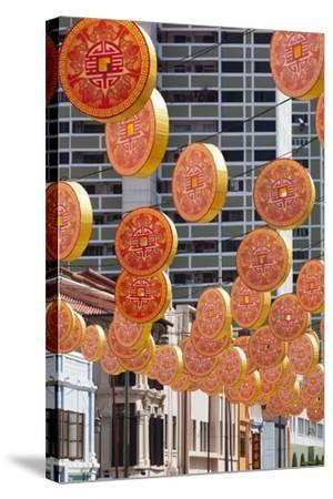 Singapore, Chinatown, Decorations for Chinese New Year-Walter Bibikow-Stretched Canvas Print
