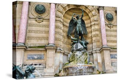 Fontaine Saint-Michel, Left Bank, Paris, France-Russ Bishop-Stretched Canvas Print