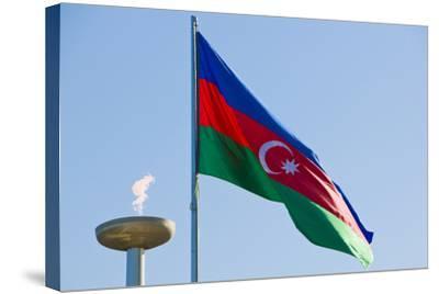 National Flag Blowing in Wind, Baku, Azerbaijan-Michael Runkel-Stretched Canvas Print