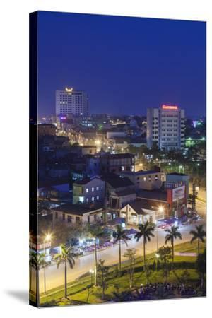 Vietnam, Dmz Area. Dong Ha, Elevated City View, Dusk-Walter Bibikow-Stretched Canvas Print